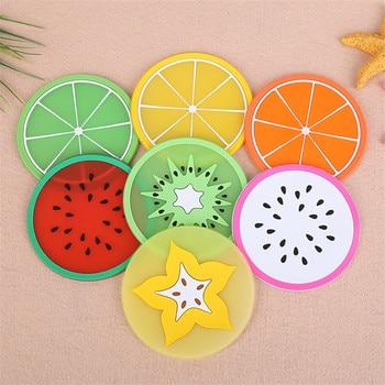 10 piezas antideslizante de moda posavasos de frutas coloridas tazas de silicona bebidas soporte de café alfombrilla de mesa almohadillas de escritorio Accesorios de escritorio