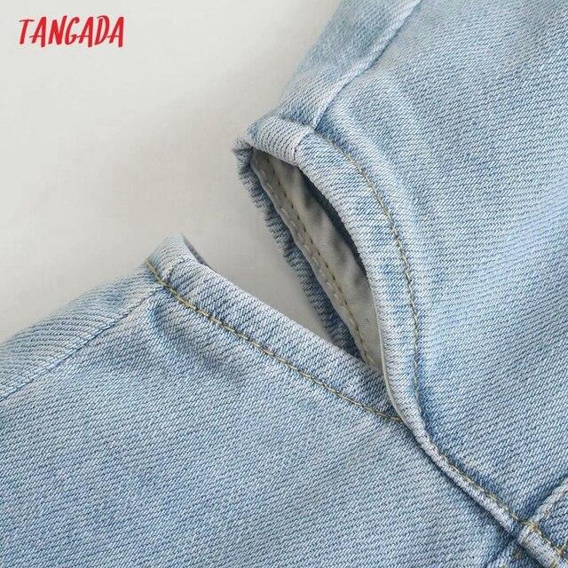 Tangada Women Solid Denim Blue Cut-out Dress Sleeveless 2021 Korean Fashion Lady Elegant Dresses Vestido 6P51 4