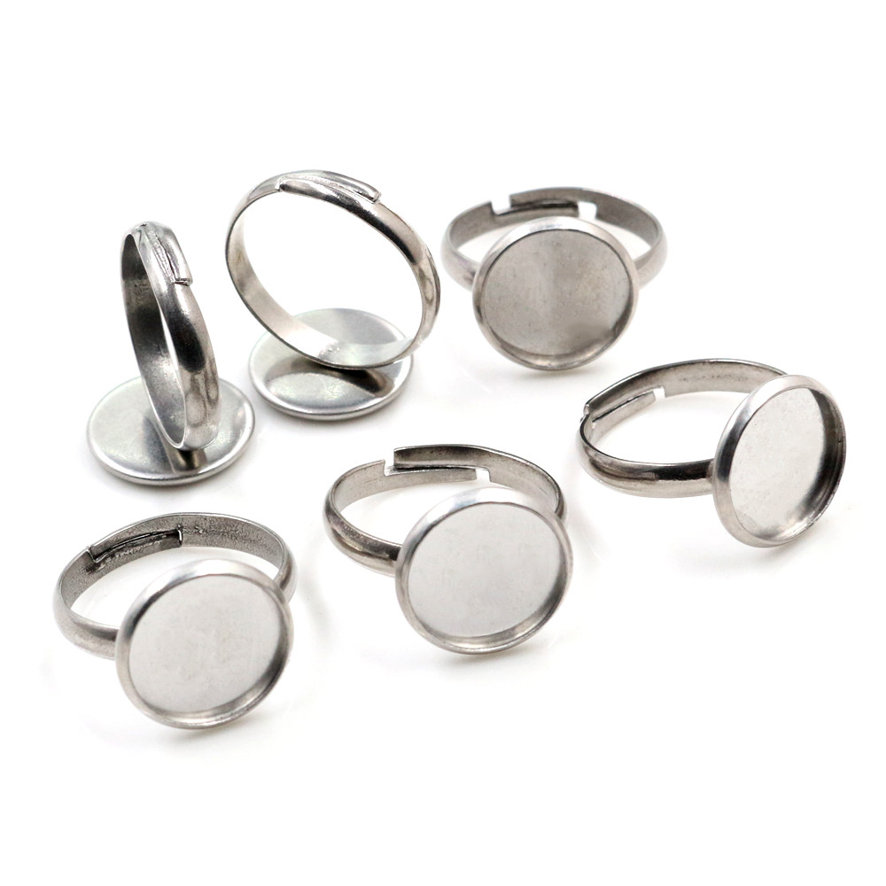 12mm 10pcs/Lot No Fade Stainless Steel Adjustable Ring Settings Blank/Base,Fit 12mm Glass Cabochons,Buttons;Ring Bezels-K2-39