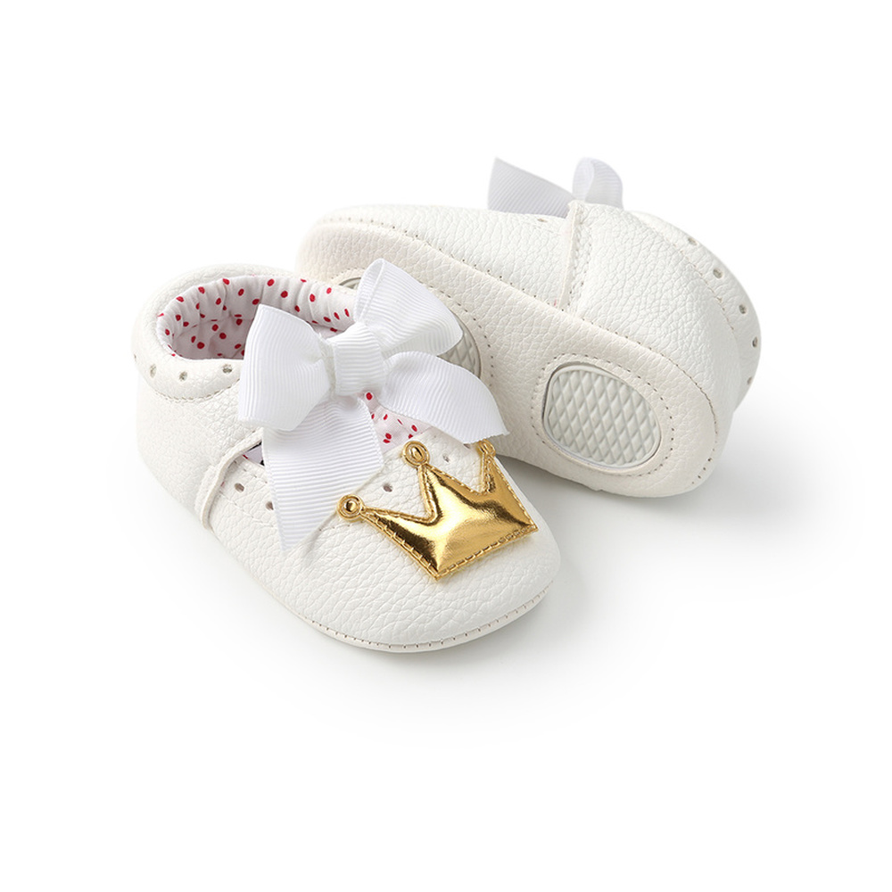 Baby Shoes Girl Princess Bling Sparkle Crown White Bowknot Toddler Rubber Sole Anti-slip First Walkers Infant Newborn Moccasins