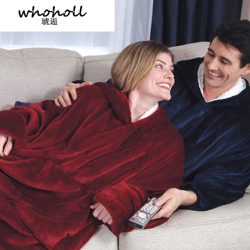 Women Hoodies Sweatshirts Plush Hoodies Warm Sweatshirt Winter Hooded Coats Soft Bathrobe Fleece Blanket Moletom Feminino