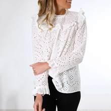 2020 nuevo YAHOOO Womail blusa Mujer otoño manga larga hueco elegante camisa de trabajo de oficina blanca Linda blusa Casual