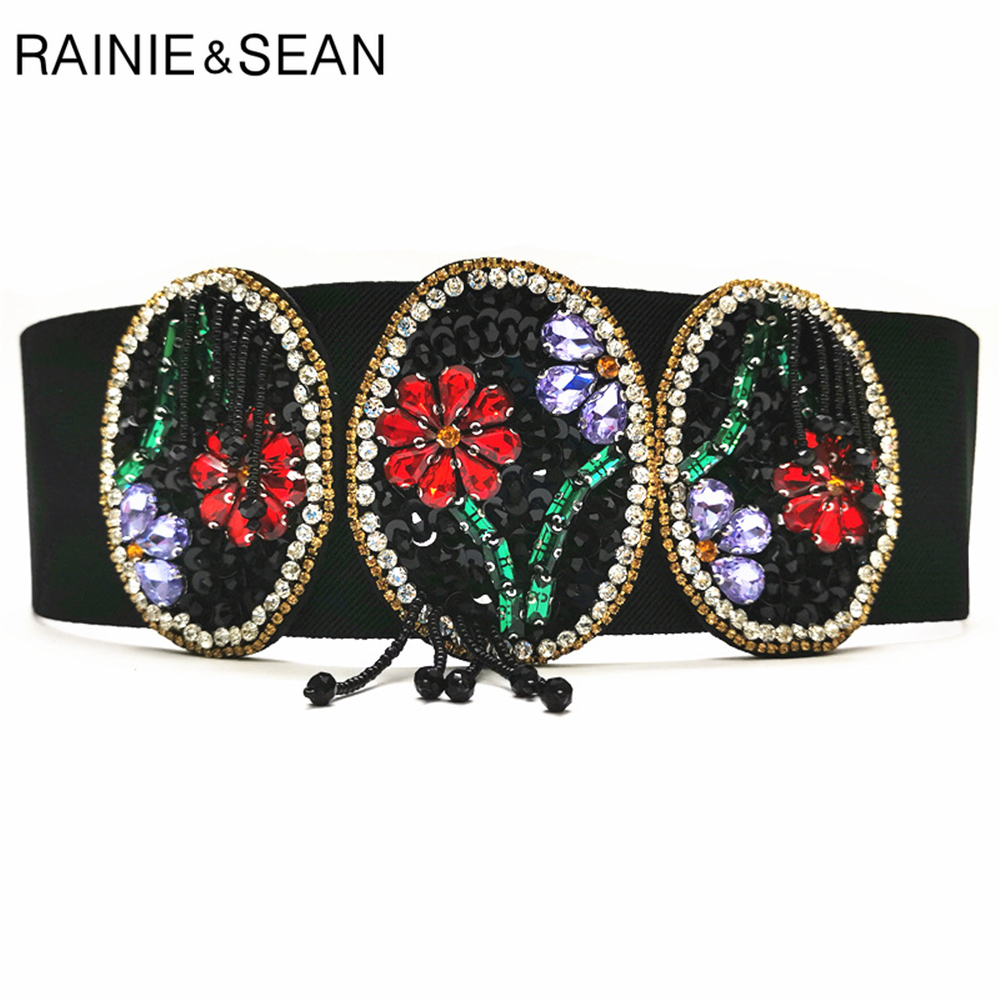 RAINIE SEAN Elastic Cummerbund Wide Belt Women Rhinestone Beaded Corset Black Flower Stretch Belts For Women Vintage Accessories