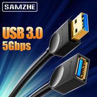 SAMZHE-extensión USB 3,0 macho a hembra, Cable extensor 2,0 para PC, TV, PS4, ordenador y portátil