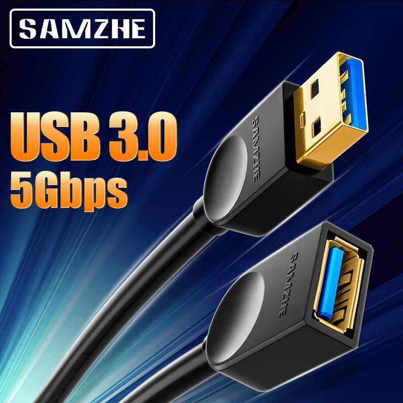 SAMZHE USB 3.0 przedłużacz męski na żeński 2.0 przedłużacz do PC TV PS4 komputer Laptop Extender