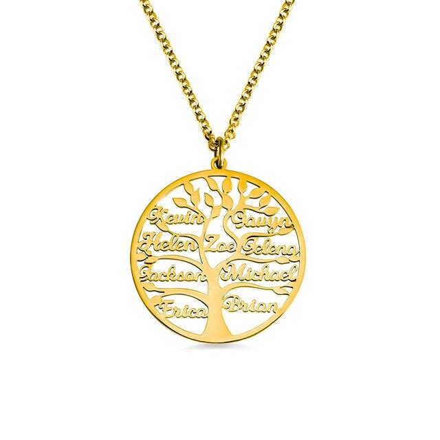 AILIN 2020 사용자 정의 목걸이 1 9 개인 된 펜 던 트 생명의 나무 가족 이름 목걸이 여성을위한 크리스마스 보석 어머니 선물