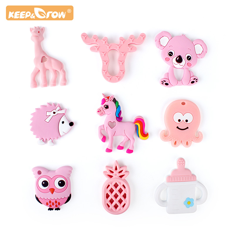 Keep&Grow 1pc Cartoon Silicone Teether Animal Teether Making Baby Rattles Charms For Stroller Accessories DIY Childen's Gifts