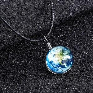 Личность Двусторонняя галактика Вселенная стеклянный шар звезда Golwing кулон ожерелье очарование время драгоценный камень серьги в виде планет для мужчин и женщин