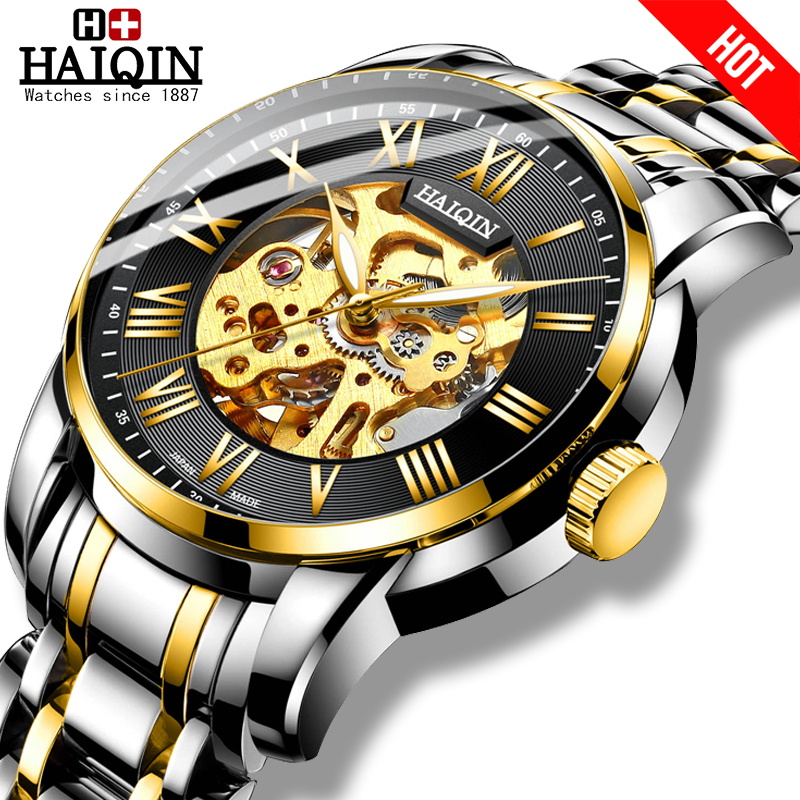 HAIQIN Men's Watches automatic mechanical mliltary watch men wristwatch mens watches top brand luxury colck 2019 Reloj hombres