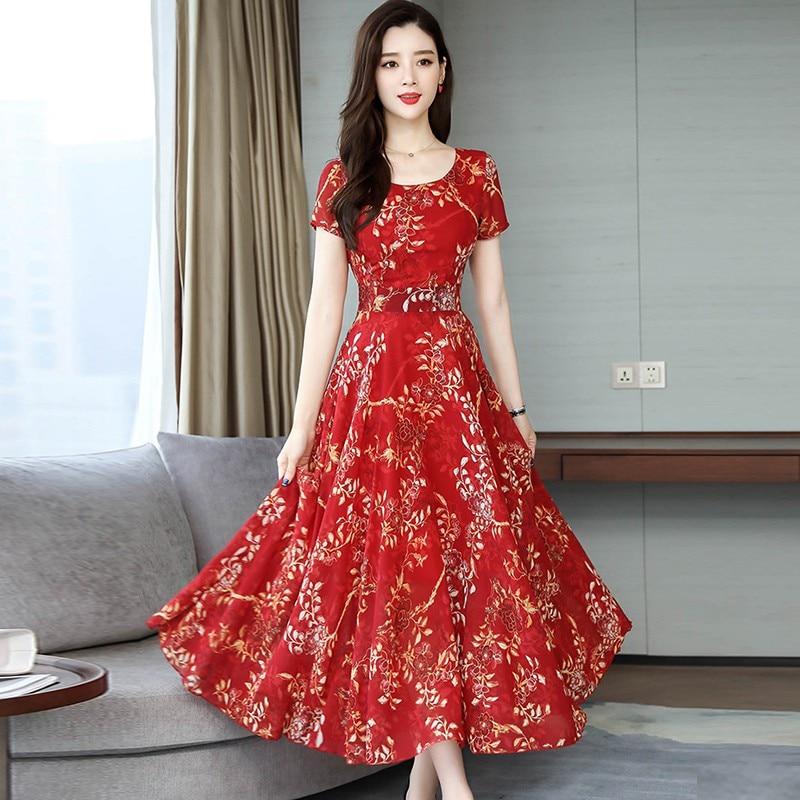 Women Floral Printed Party Dress Short Sleeve Sexy Long Vestidos Women Elegant Spring Summer Dress