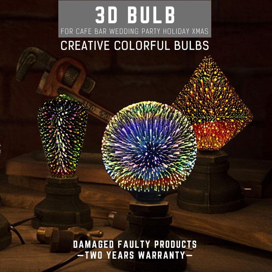 3D Festival Bulb 6W E27 LED Lamp Creative Colorful Lights G125 Firework Light For Cafe Bar Wedding Party Holiday Christmas Decor