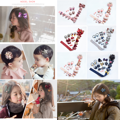 10/18Pcs/Gift Box Children Baby Cute Cartoon Flower Hair Clips Girl Sweet Fabric Soft Hairpins Barrettes Kids Hair Accessories Lahore