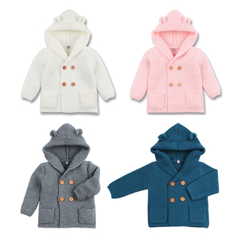 цена на Baby winter autunmn warm sweater newborn hooded knitted cardigan fall outerwear thick jacket coat toddler 1-2Y boys girl clothes