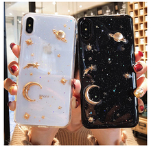 Fashion Bling Glitter Star Moon phone Case For ipho