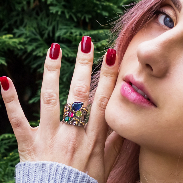 Large Wide Ring Blue Multi Colorful Stones Fashion Jewelry Top Jewellery Big Rings for women