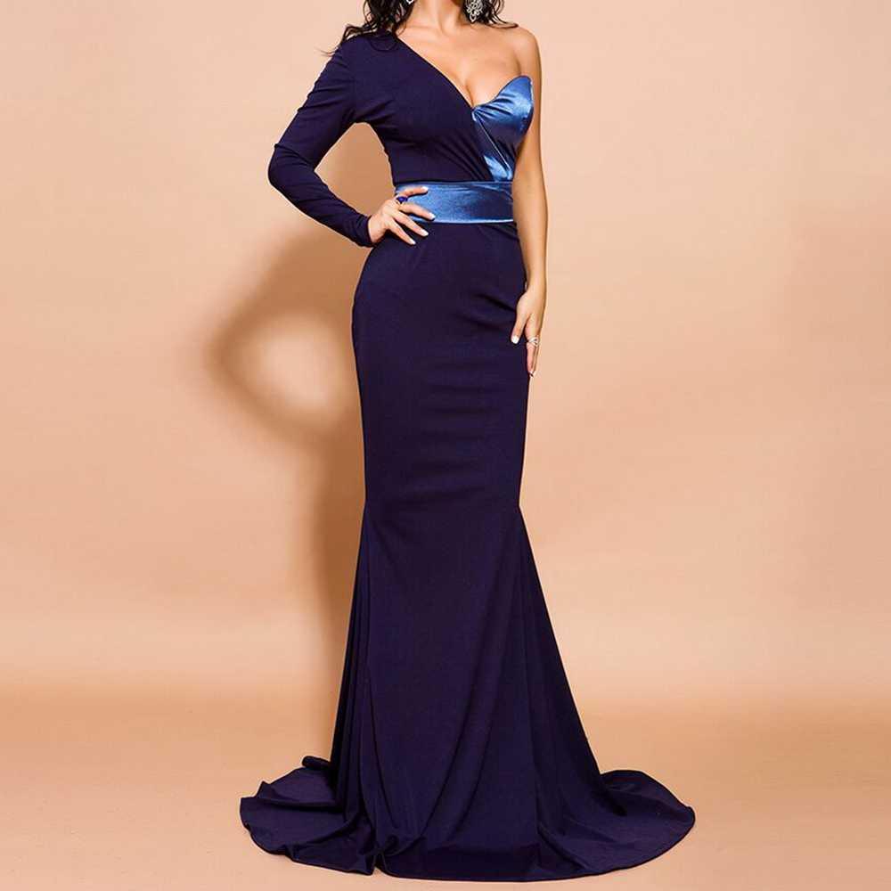 Новинка 2019, сексуальное летнее темно-синее лоскутное платье русалки на одно плечо, вечерние платья знаменитостей, клубный высокого качества, подиум, оптовая продажа