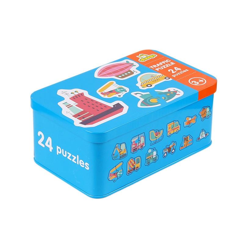 0-36M мультфильм животных трафик Fuit Монтессори сопряжение познание головоломки игрушки деревянные головоломки карты Дети Образование