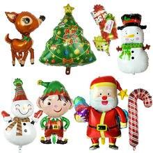 Navidad gas helio globo de la hoja muñeco de nieve Santa Claus, árbol de Navidad alce regalo en forma de Globos para Navidad ornamento decoración de Año Nuevo