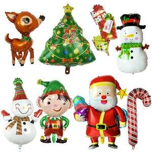 Christmas Air Helium Foil Balloon Snowman Santa Claus Xmas Tree Elk Boy Gift Shape Globos For Christmas Ornament New Year Decor(China)
