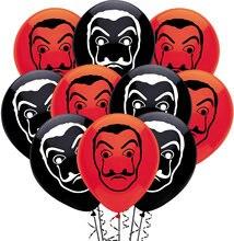 10 unids/lote La Casa De Papel globos dinero robo camisetas serie De TV del crimen Fans De látex globos De máscaras negro Globo Rojo decoración De fiesta