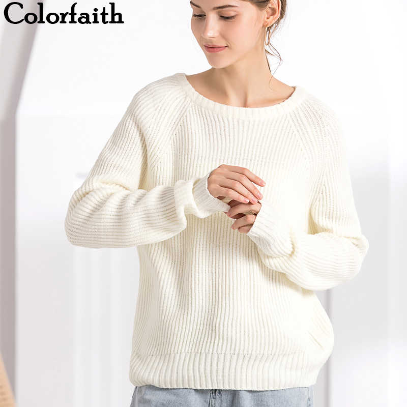 Colorfaith Women's Sweaters Autumn Winter 2019 Pullover Knitted O-Neck Minimalist Casual Solid Long Sleeve Loose Tops SW7197