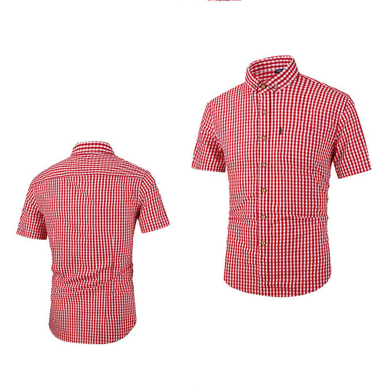 夏の格子縞のシャツ男性シャツ 2020 新着シュミーズオムメンズシャツ半袖シャツ男性ブラウスストリートファッション B724