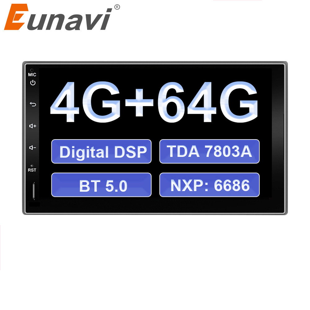 Eunavi 2 Din Android 9.0 Universal Car Radio Multimedia Stereo Player GPS Navigation IPS BT5 DSP 4+64G TDA7803A autoradio NO DVD image