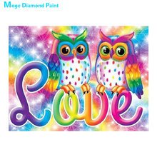 colour cartoon owl Moge Diamond Painting Full Round animal New DIY Toy sticking drill cross embroidery 5D simple home decorative