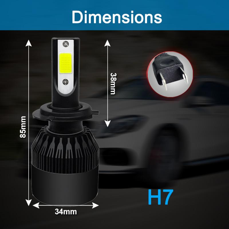 1pair COB H7 120W 26000LM LED Car Headlight Kit Turbo Light Bulbs 6000K Foglight