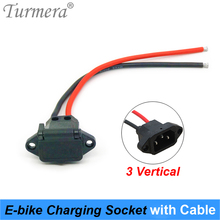 Turmera E-bike Battery Connector Plug Universal Three Vertical Charging Socket with 12AWG Cable for 36V 48V Electric Vehicle J31