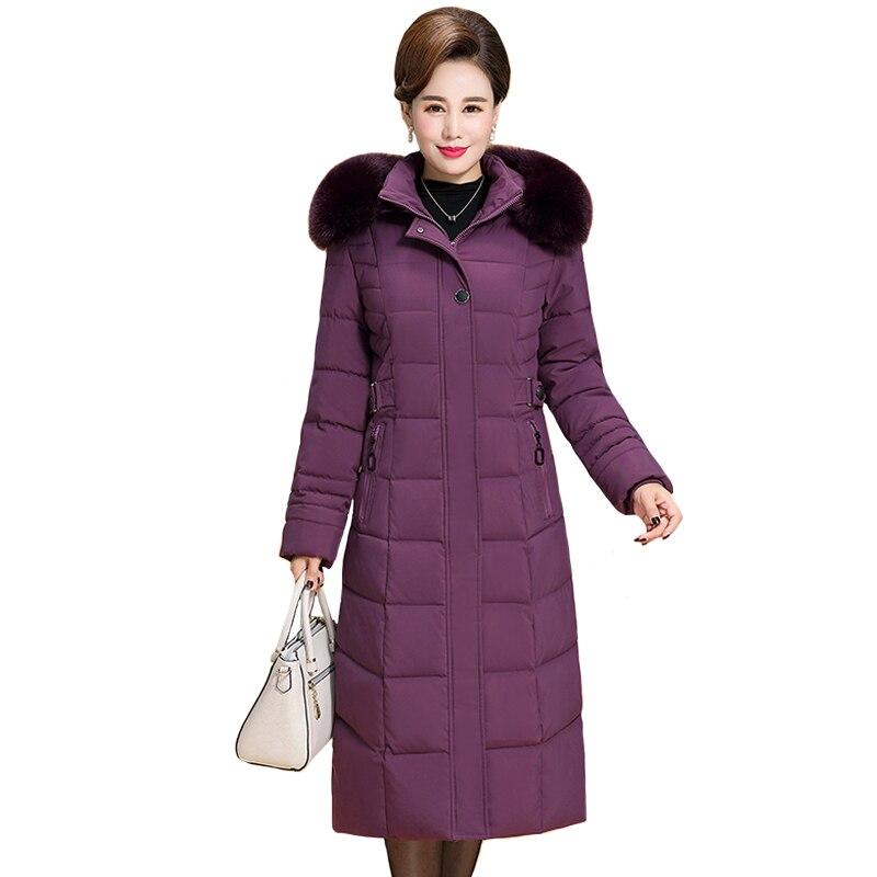 2019 Nova Plus Size 6XL Mulheres Jaqueta de Inverno Gola de Pele Com Capuz longo X-Engrossar Casacos de Inverno de Algodão Das Mulheres de Meia Idade parkas longos