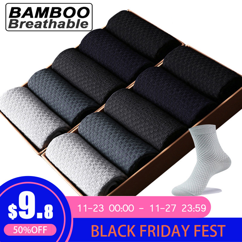 Bamboo Fiber Long-Socks Compression Business Breathable Large-Size High-Quality Men 10-Pairs/Lot