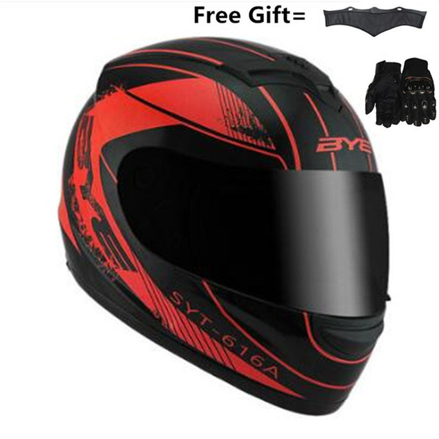 $ US $42.30 Hot sale BYE Motorcycle Helmet full Moto Helmet With Inner Sun Visor Safety  Lens Racing Full Face Helmets S 55cm to 56cm