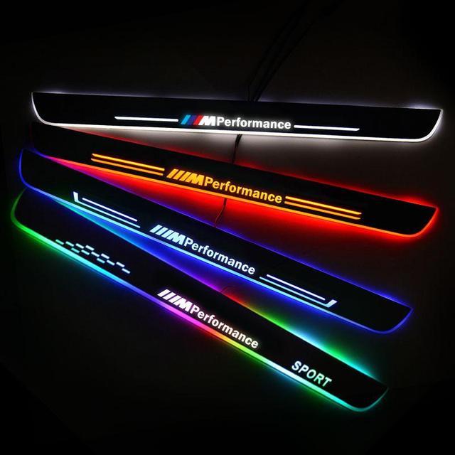 Led bmw E60 2004 2009 ペダルしきい値歓迎ライトボードを running nerf バー 4 プレートガード自動ランプ