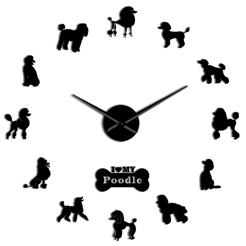 Poodle Big Hand Modern Wall Clock Poodle Dog Diy Giant Wall Clock Dining Room Wall Decor Poodle Mirror Effect Diy Large Wall Art
