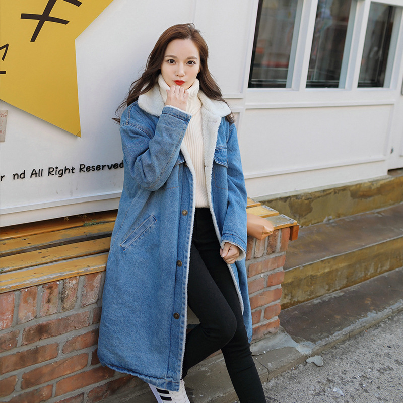 2019 Autumn And Winter New Style Korean-style Loose-Fit Brushed And Thick Lambs Wool Cowboy Cotton Overcoat Women's Mid-length C