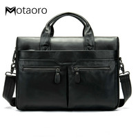 High Quality Men Leather Briefcases Bags Men's Genuine Leather Shoulder Bags Laptop Bag Business Man Briefcase Tote Handbag 2020
