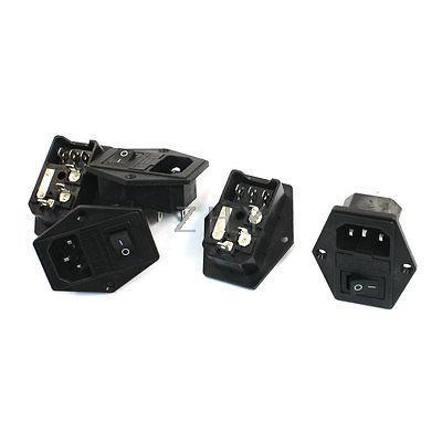 Işıklar ve Aydınlatma'ten Konnektörler'de Panel Montajlı Sigorta Tutucu IEC320 C14 Giriş SPDT Rocker Anahtarı Güç Soketi 5 Adet title=