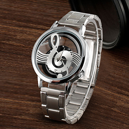 New Luxury Lover Watches Fashion Silver Mesh Casual Music Notes Symbol Watch Stainless Steel Man Watch Masculino relogio clock|Lover's Watches| |  - title=