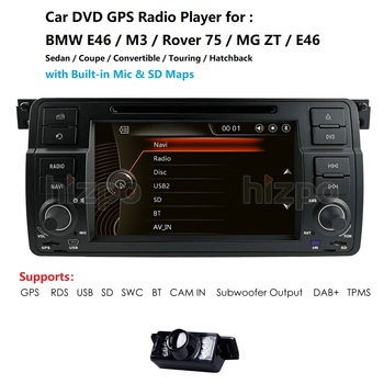 AutoRadio 1 Din Car DVD Player For BMW E46 M3 318/320/325/330/335 Rover 75 1998-2006 GPS Navigation BT SWC RDS DVBT DAB+ CAM image
