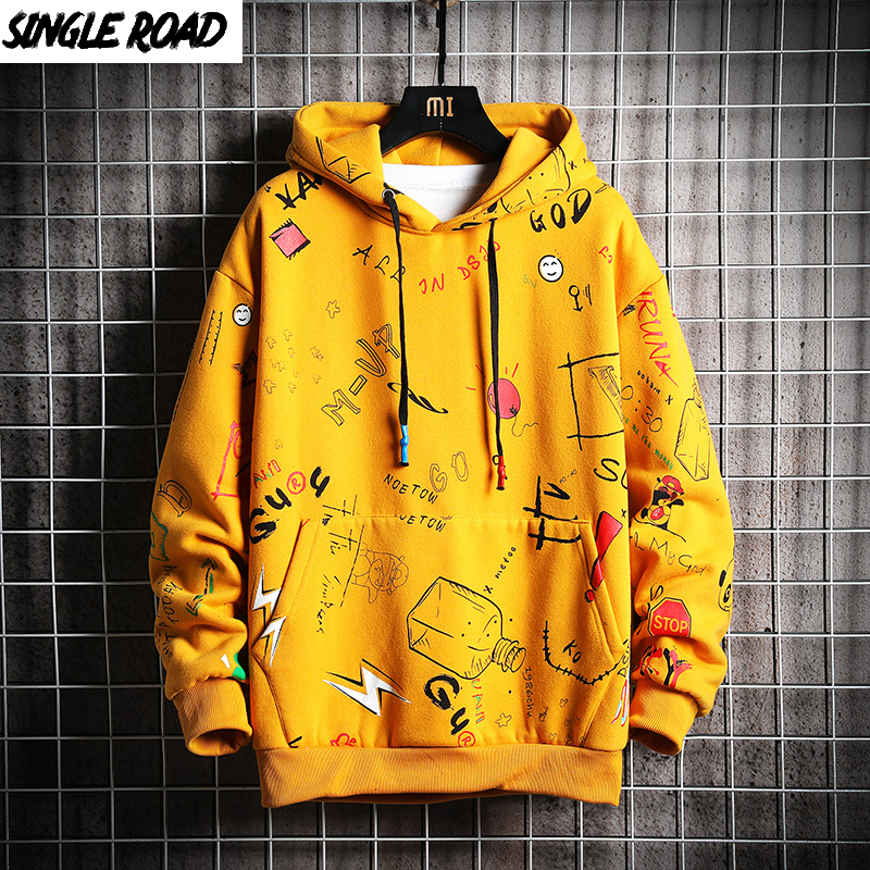 SingleRoad Men's Winter Hoodies Men 2019 Fleece Graffiti Sweatshirt Male Hip Hop Harajuku Japanese Streetwear Yellow Hoodie Men