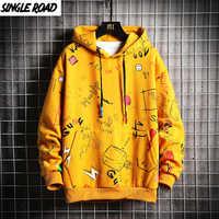 Singleroad hoodies de inverno masculino 2019 velo graffiti moletom masculino hip hop harajuku streetwear japonês amarelo hoodie masculino