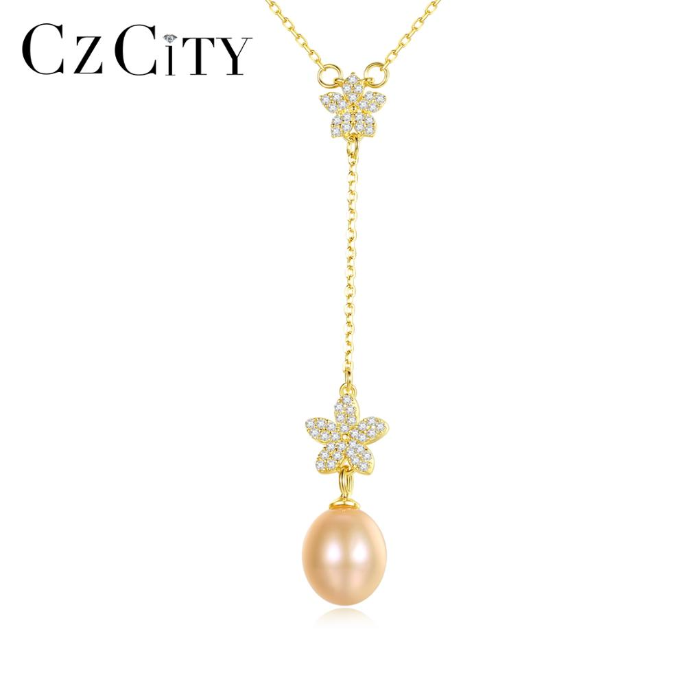 CZCITY Pearl Necklaces Fine-Jewelry 925-Sterling-Silver Small Women Flower for with AAA