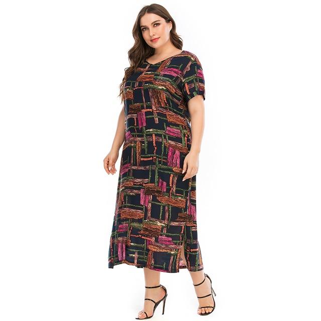 Plus Size Dressr V Neck Short Sleeve Colorful Plaid Print 3