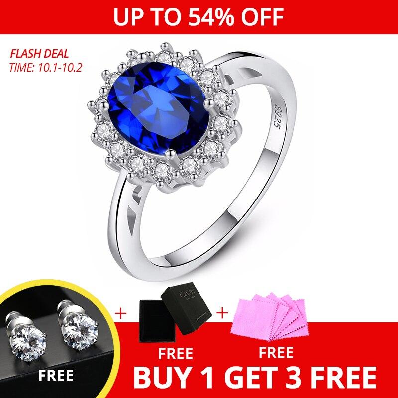 Czcity princesse Diana William Kate pierres précieuses anneaux saphir bleu mariage fiançailles 925 bague en argent Sterling pour les femmes