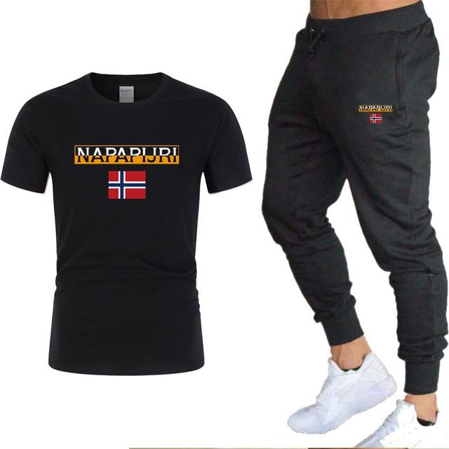 Men's sets t shirts + pants two pieces sets casual  5