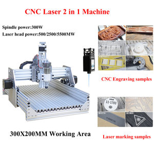 Diy CNC 3020 300w Engraving Router Laser Marking Machine 2500mw 2 in 1 with ER11 Collects for Wood Plastic Acrylic PCB Steel