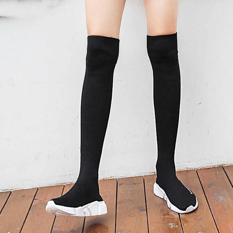 ยืดหยุ่นกว่าเข่าบู๊ทส์ถุงเท้าผู้หญิงสีดำรองเท้ายาวต้นขาสูง Slim ถักรองเท้าผ้าใบแพลตฟอร์มรองเท้ารองเท้า