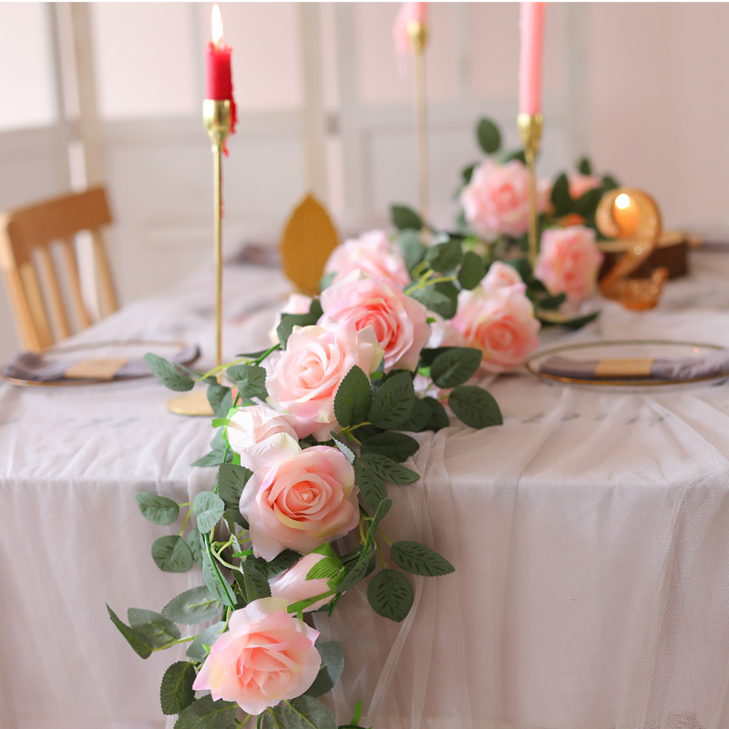 PARTY JOY 2Pcs 2M Fake Silk Rose Vine Artificial Flowers Hanging Ivy Garland for Wedding Home Office Party Garden Craft Decor