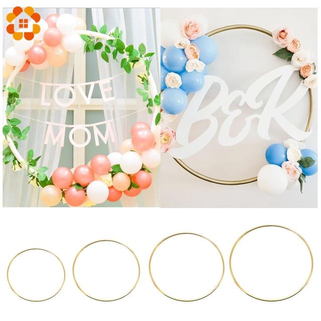 1 Set DIY 10-40cm Iron Metal Ring Wooden Crafts Garland Flowers for Eid Mubarak Ramadan Party Decoration Gift Wedding Home Decor 3
